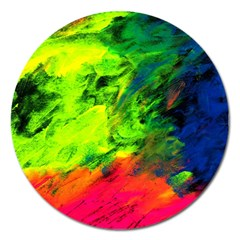 Neon Rainbow Green Pink Blue Red Painting Magnet 5  (round) by Mariart