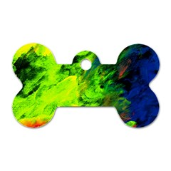 Neon Rainbow Green Pink Blue Red Painting Dog Tag Bone (two Sides) by Mariart
