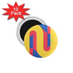 Rainbow Sign Yellow Red Blue Retro 1 75  Magnets (10 Pack)  by Mariart