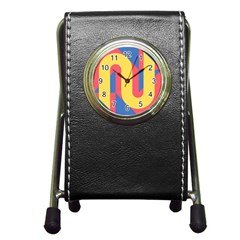 Rainbow Sign Yellow Red Blue Retro Pen Holder Desk Clocks by Mariart