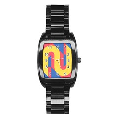 Rainbow Sign Yellow Red Blue Retro Stainless Steel Barrel Watch by Mariart
