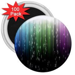 Numerical Animation Random Stripes Rainbow Space 3  Magnets (100 Pack) by Mariart