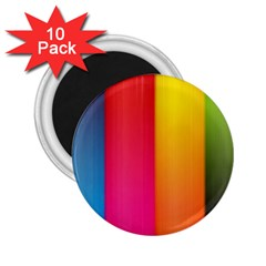 Rainbow Stripes Vertical Lines Colorful Blue Pink Orange Green 2 25  Magnets (10 Pack)  by Mariart