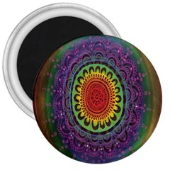 Rainbow Mandala Circle 3  Magnets by Mariart