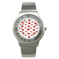 Red Fruit Strawberry Pattern Stainless Steel Watch by Mariart