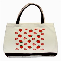 Red Fruit Strawberry Pattern Basic Tote Bag by Mariart