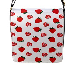 Red Fruit Strawberry Pattern Flap Messenger Bag (l)  by Mariart