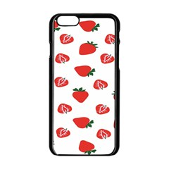 Red Fruit Strawberry Pattern Apple Iphone 6/6s Black Enamel Case by Mariart
