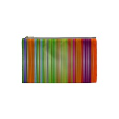 Rainbow Stripes Vertical Colorful Bright Cosmetic Bag (small)  by Mariart
