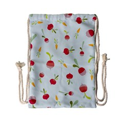 Root Vegetables Pattern Carrots Drawstring Bag (small) by Mariart