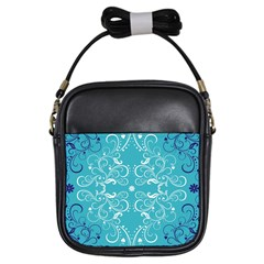 Repeatable Patterns Shutterstock Blue Leaf Heart Love Girls Sling Bags by Mariart