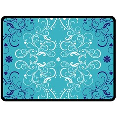 Repeatable Patterns Shutterstock Blue Leaf Heart Love Double Sided Fleece Blanket (large)  by Mariart