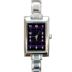 Retro Neon Grid Squares And Circle Pop Loop Motion Background Plaid Purple Rectangle Italian Charm Watch by Mariart