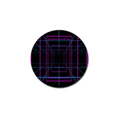 Retro Neon Grid Squares And Circle Pop Loop Motion Background Plaid Purple Golf Ball Marker (10 Pack) by Mariart