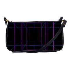 Retro Neon Grid Squares And Circle Pop Loop Motion Background Plaid Purple Shoulder Clutch Bags by Mariart