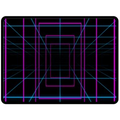 Retro Neon Grid Squares And Circle Pop Loop Motion Background Plaid Purple Fleece Blanket (large)  by Mariart