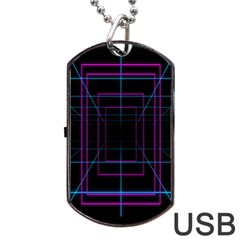 Retro Neon Grid Squares And Circle Pop Loop Motion Background Plaid Purple Dog Tag Usb Flash (one Side) by Mariart
