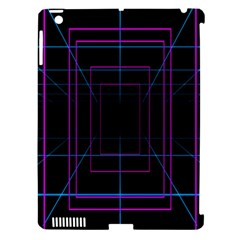 Retro Neon Grid Squares And Circle Pop Loop Motion Background Plaid Purple Apple Ipad 3/4 Hardshell Case (compatible With Smart Cover) by Mariart