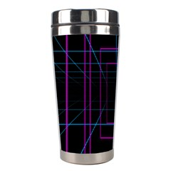 Retro Neon Grid Squares And Circle Pop Loop Motion Background Plaid Purple Stainless Steel Travel Tumblers by Mariart