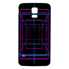 Retro Neon Grid Squares And Circle Pop Loop Motion Background Plaid Purple Samsung Galaxy S5 Back Case (white) by Mariart