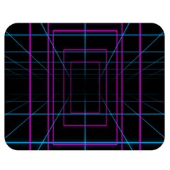 Retro Neon Grid Squares And Circle Pop Loop Motion Background Plaid Purple Double Sided Flano Blanket (medium)  by Mariart