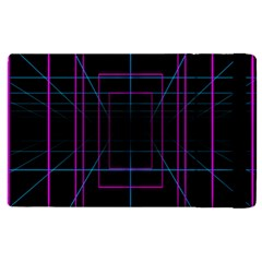 Retro Neon Grid Squares And Circle Pop Loop Motion Background Plaid Purple Apple Ipad Pro 9 7   Flip Case by Mariart
