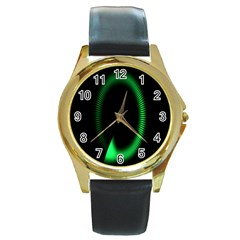 Rotating Ring Loading Circle Various Colors Loop Motion Green Round Gold Metal Watch by Mariart