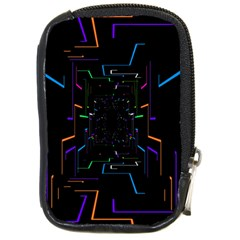 Seamless 3d Animation Digital Futuristic Tunnel Path Color Changing Geometric Electrical Line Zoomin Compact Camera Cases by Mariart