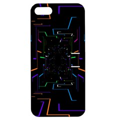 Seamless 3d Animation Digital Futuristic Tunnel Path Color Changing Geometric Electrical Line Zoomin Apple Iphone 5 Hardshell Case With Stand by Mariart