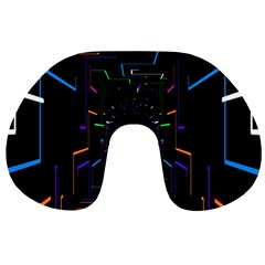 Seamless 3d Animation Digital Futuristic Tunnel Path Color Changing Geometric Electrical Line Zoomin Travel Neck Pillows by Mariart