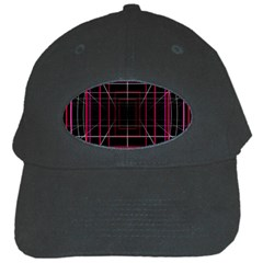 Retro Neon Grid Squares And Circle Pop Loop Motion Background Plaid Black Cap by Mariart