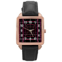 Retro Neon Grid Squares And Circle Pop Loop Motion Background Plaid Rose Gold Leather Watch  by Mariart