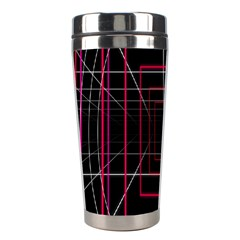 Retro Neon Grid Squares And Circle Pop Loop Motion Background Plaid Stainless Steel Travel Tumblers by Mariart