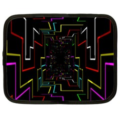 Seamless 3d Animation Digital Futuristic Tunnel Path Color Changing Geometric Electrical Line Zoomin Netbook Case (large) by Mariart