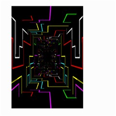 Seamless 3d Animation Digital Futuristic Tunnel Path Color Changing Geometric Electrical Line Zoomin Large Garden Flag (two Sides) by Mariart