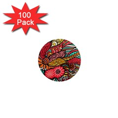Seamless Texture Abstract Flowers Endless Background Ethnic Sea Art 1  Mini Magnets (100 Pack)  by Mariart