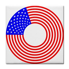Stars Stripes Circle Red Blue Tile Coasters by Mariart