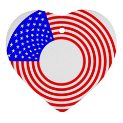 Stars Stripes Circle Red Blue Ornament (heart) by Mariart