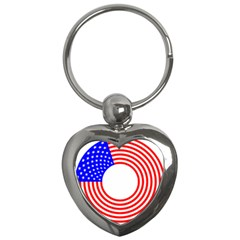 Stars Stripes Circle Red Blue Key Chains (heart)  by Mariart