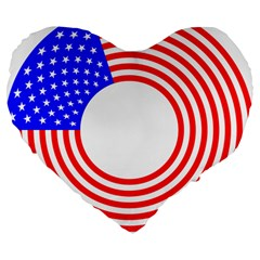 Stars Stripes Circle Red Blue Large 19  Premium Flano Heart Shape Cushions by Mariart