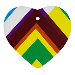 Triangle Chevron Rainbow Web Geeks Heart Ornament (two Sides) by Mariart