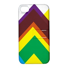 Triangle Chevron Rainbow Web Geeks Apple Iphone 4/4s Hardshell Case With Stand by Mariart