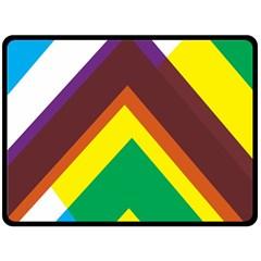 Triangle Chevron Rainbow Web Geeks Double Sided Fleece Blanket (large)  by Mariart
