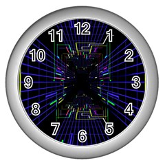 Seamless 3d Animation Digital Futuristic Tunnel Path Color Changing Geometric Electrical Line Zoomin Wall Clocks (silver)  by Mariart