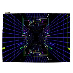 Seamless 3d Animation Digital Futuristic Tunnel Path Color Changing Geometric Electrical Line Zoomin Cosmetic Bag (xxl)  by Mariart