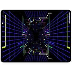 Seamless 3d Animation Digital Futuristic Tunnel Path Color Changing Geometric Electrical Line Zoomin Double Sided Fleece Blanket (large)  by Mariart
