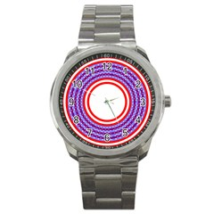 Stars Stripes Circle Red Blue Space Round Sport Metal Watch by Mariart