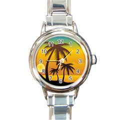 Sunset Summer Round Italian Charm Watch by Mariart