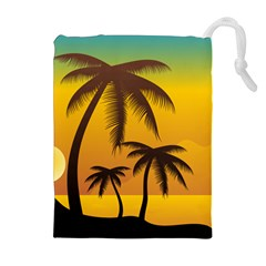 Sunset Summer Drawstring Pouches (extra Large) by Mariart