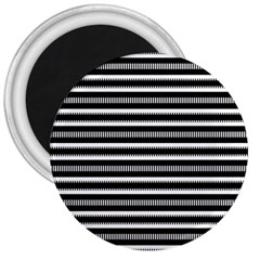 Tribal Stripes Black White 3  Magnets by Mariart